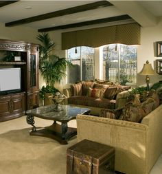 I love the sofa and sofa pillows in this living room design.