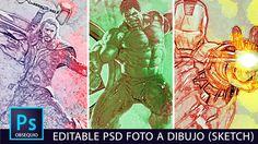 Editable psd para convertir una foto a dibujo (Sketch) otra forma con #P...
