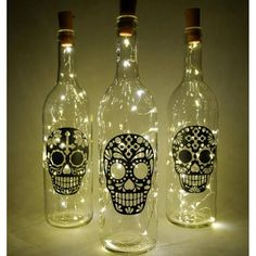 Sugar skull art lighted wine bottle string lights fairy light bottle wine bottle lights string light decor nightlight day of the dead Liquor Bottle Crafts, Wine Bottle Art, Painted Wine Bottles, Lighted Wine Bottles, Diy Bottle, Glass Bottles, Vodka Bottle, Decorated Wine Bottles, Beer Bottle