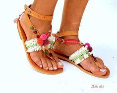 "Leather Boho Sandals, ""IO"", pink summer sandals, Greek Sandals, Handmade Sandals, , hippie sandals, Bohemian sandals"