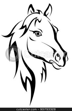 horse head: Black horse silhouette isolated on white for design Horse Outline, Horse Stencil, Horse Tattoo Design, Tattoo Designs, Tattoo Ideas, Horse Silhouette, Wood Burning Patterns, Pintura Country, Horse Drawings