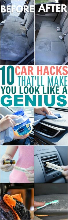 These 10 Car Hacks Made My Car Look AMAZING! I love how easily I can get rid of my cat's and dog's fur from my fabric seats now! The essential oil and Vaseline tricks are awesome too! My car has never been so clean. : ) Source by diybunker Car Cleaning Hacks, Car Hacks, Diy Cleaning Products, Cleaning Solutions, Hacks Diy, Tips And Tricks, Casa Clean, Clean House, Vaseline