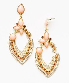 Look at this #zulilyfind! Coral Crystal & Gold Teardrop Earrings #zulilyfinds