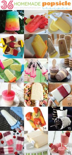 "thecakebar: "" 36 Homemade Popsicle Recipes By Artsy Mama Rainbow Pudding Pops by Sandy Toes and Popsicles Raspberry Limeade Ice Pops by Poofy Cheeks Orange Julius Popsicles by A Night. Summer Snacks, Summer Treats, Frozen Desserts, Frozen Treats, Baby Food Recipes, Dessert Recipes, Homemade Popsicles, Home Made Popsicles Healthy, Mantecaditos"