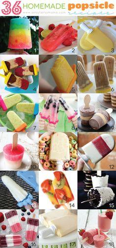 36 homemade popsicle recipes <<<>>> Click through for recipes.