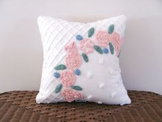 pink pillow cover ROSE ARBOR 14 X 14 by moreChenilleChateau