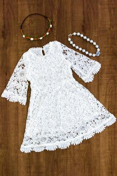 White Flowered Lace Dress - Sparkle in Pink Frocks For Girls, Kids Frocks, Kids Outfits Girls, Cute Outfits For Kids, Toddler Girl Dresses, Little Girl Dresses, Girl Outfits, Girls Dresses, Lace Dress For Kids