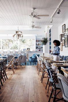 Halcyon House Australia- interior design by Anna Spiro, featured in Vogue Living Hotel Restaurant, Restaurant Design, Hampton Restaurant, Restaurant Ideas, Commercial Design, Commercial Interiors, Halcyon House, Beach Cafe, Beach House Cafe
