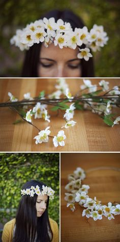 This is a roundup of 10 different floral crowns to make… from fresh to fake flowers to flowers you make from fabric or lace…. They're all so perfect!