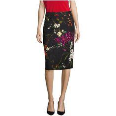 Escada Rava Floral Jacquard Pencil Skirt ($650) ❤ liked on Polyvore featuring skirts, black, midi, jacquard midi skirt, floral print midi skirt, flower print skirt, floral skirt and floral print skirt