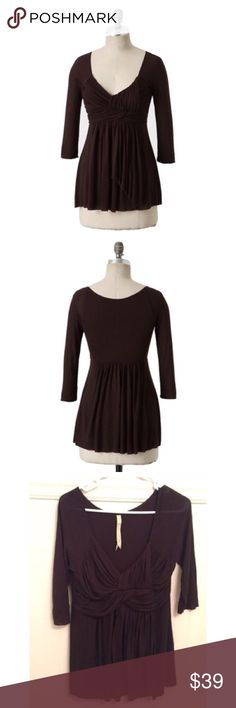 """Bailey 44 Sz L Anthro Brown Monologue Top EUC Bailey 44 Sz L Anthro Brown Monologue Top EUC🔹Sz L🔹Bailey 44 from Anthropologie 🔹""""Monologue Top"""" in brown. Stretch knit. 🔹Dramatic draping & well-played pleating makes for a stunning performance in any wardrobe. 🔹Size L, but better for size Medium🔹100% Rayon 🔹Excellent used condition! 🔹Bust: 16"""" across the front, lying flat. Has stretch. 🔹Length: 28"""" from shoulder to hem. Anthropologie Tops Blouses"""