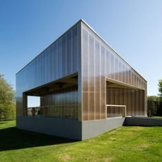 Carmody Groarke's new White Cube gallery is an angular timber and plastic pavilion (Pinned this because of the material)