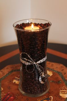 Coffee Bean Art - Glass Vase & Tealight