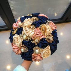 Items similar to Ivory, blush pink and navy Bridal Wedding Fabric and Brooch Bouquet Wedding, rhinestone Heirloom on Etsy Blush Wedding Flowers, Pink And Gold Wedding, Wedding Brooch Bouquets, Blush And Gold, Blush Pink, Wedding Colors, Satin Flowers, Coral Navy Weddings, Blush Weddings