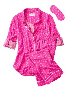Dreamer Flannel Pajama in bright pink bows