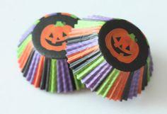 24 Halloween Cupcake Liners, Jack o Lantern Baking Cups Striped Cupcake Papers Purple Green Orange Black Orange Birthday Party Supplies
