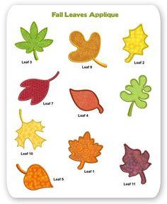 Fall Leaves Embroidery Applique Designs Leaf Thanksgiving Halloween Garden Maple Oak