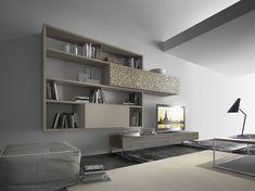 Parete attrezzata componibile fissata a muro in legno con porta tv CrossART - 508 by Presotto Industrie Mobili design Pierangelo Sciuto