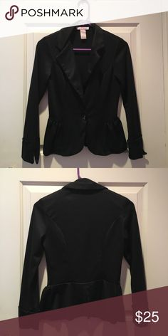 Black Peplum Blazer. Brand new, never worn, black peplum blazer. I bought it & cut the tags off & ended up never wearing it. It's a beautiful jacket you can dress up or down! Jackets & Coats Blazers