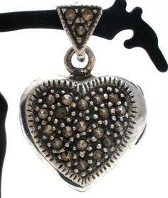 """Vintage Jewelry for Necklaces - This is a sterling silver heart picture locket pendant with marcasite gemstones. It is hallmarked 925, measures 1"""" by .75"""", hallmarked 925, weighs 6.4 grams, excellent"""