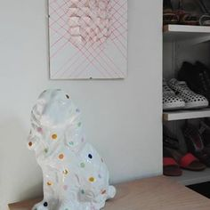 Awaiting a place in the kid's room, I decided to girlie-up our bedroom with these two beauties    #geometric #art #pink #neon #dots #polkadots #porcelain #kitsch