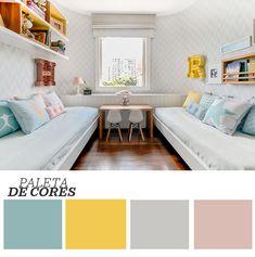 Décor do dia: quarto infantil delicado para dois. Tons suaves de cinza, rosa, azul e amarelo compõem a decoração feita pela arquiteta Duda Senna.
