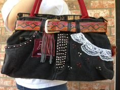 Denim bags embellished with trim beads leather by positivelybling, $50,00