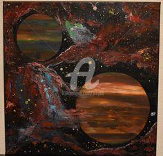 1a31ef8fcb3d tableau peinture de galaxy de peinture à l huile paysage sur toile , signée  tableau