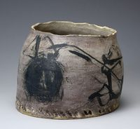 """YAGI KAZUŌ (1918-79) was the central figure and spokesman for the Sōdeisha group that was founded in 1948 and revolutionized the idea of ceramics in Japan.  While focused on """"objets"""" that were neither purely sculptural nor functional, he respected utility and incorporated the western aesthetics of artists such as Paul Klee and Joan Miro into his distinctly Japanese forms.  Yagi became the standard bearer of this field and revolutionized the perception of ceramics in postwar Japan through…"""