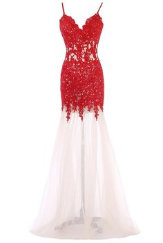 Sunvary Champagne and Red Mermaid Lace Prom Evening Dresses Bridesmaid Gowns