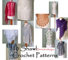 INSTANT DOWNLOAD, 10 Shawls, Crochet shawl pattern pdf