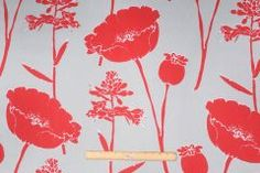 Designer Printed Cotton Drapery Fabric in Red/Seamist $7.95 per yard