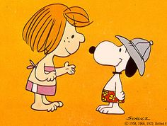 Snoopy and Peppermint Patty getting ready to swim - Snoopy, Come Home!