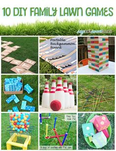 10 easy DIY Family Lawn Games! Make one (or several) of these awesome games and spend a little more time outside this summer! | saynotsweetanne.com