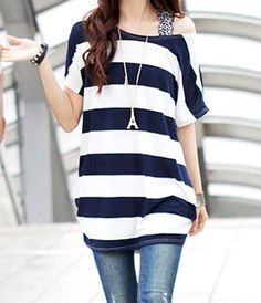 Stylish Women's Scoop Neck Striped Short Sleeve T-Shirt (DEEP BLUE,ONE SIZE) | Sammydress.com Mobile