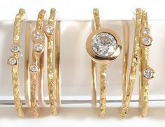 Bark rings.  Yellow gold, red, black, white, with or without diamonds.
