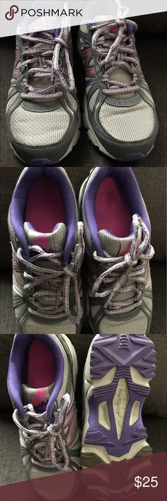 New Balance women's size 7.5 all terrain sneakers Only worn a few times, in great condition. Gray with purple/ pink detailing. Women's size 7.5, fit true to size. Smoke free/pet free home. New Balance Shoes Athletic Shoes