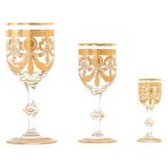 View this item and discover similar for sale at - Circa St. This set of magnificent Saint Louis crystal in the rare gilt Congress pattern is complete for twelve with extras. Saint Louis Crystal, Liquor Glasses, Water Into Wine, Early American, St Louis, Pink And Gold, Wine Glass, Fancy, Antiques