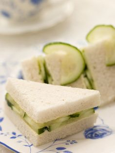 Tiny cucumber dill tea sandwiches are the perfect finger food for bridal or baby showers! #Appetizers
