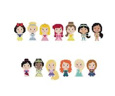 This cute Pop People design features ALL 13 Disney Princesses. The pattern shows them in a straight line, so if you choose to you can easily move