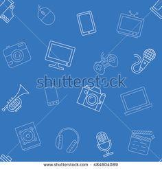 Multimedia object blue pattern seamless vector illustration