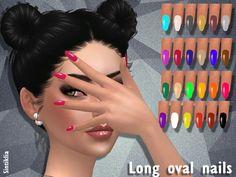 Long oval nails by Sintiklia at TSR via Sims 4 Updates