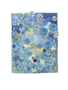 Blue dots  Original watercolor by LouiseArtStudio