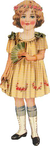 Vintage girl with fan scrap
