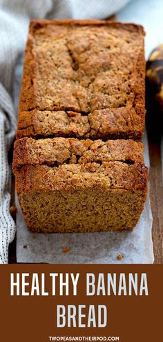 This Healthy Banana Bread Recipe Is Made With Whole Wheat Flour Bananas Coconut Oil Greek Yogurt And Naturally Sweetened With Pure Maple Syrup. It Is A Family Favorite! The next time you have a bunch of brown bananas give our Healthy Banana Bread a t Banana Bread Coconut Oil, Greek Yogurt Banana Bread, Whole Wheat Banana Bread, Flours Banana Bread, Easy Banana Bread, Banana Bread With Oil, Vegan Banana Bread, Healthy Bread Recipes, Yogurt Recipes