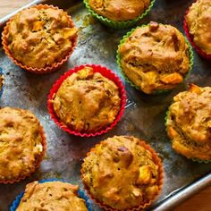 Recipe for Low Sugar and Whole Wheat Peach Pecan Muffins from Kalyn's Kitchen  #LowGlycemicDesserts