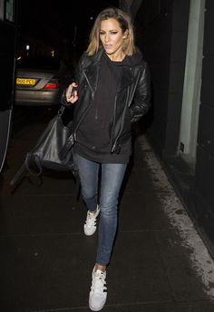 Caroline was dressed casually in jeans, a hoody and a leather jacket