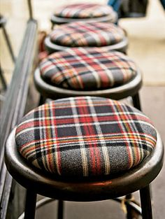 Love these Plaid Bar Stools. Would totally add these to our home. Love these Plaid Bar Stools. Would totally add these to our home. Bar Furniture, Furniture Upholstery, Plywood Furniture, Kitchen Furniture, Modern Furniture, Furniture Design, Upholstery Tacks, Upholstery Cushions, Upholstery Fabrics