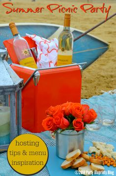 How To Host An Easy Beach Picnic Party With #Mirassou Wine. #summerparty #wine #beach #plantoparty