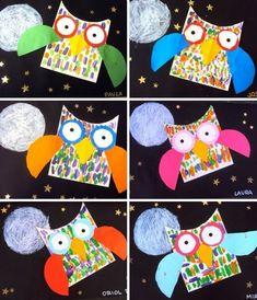 CARDBOARD OWLS Animal Art Projects, Fall Art Projects, Art Vampire, Vampire Knight, Arte Elemental, Art For Kids, Crafts For Kids, 2nd Grade Art, Grade 1